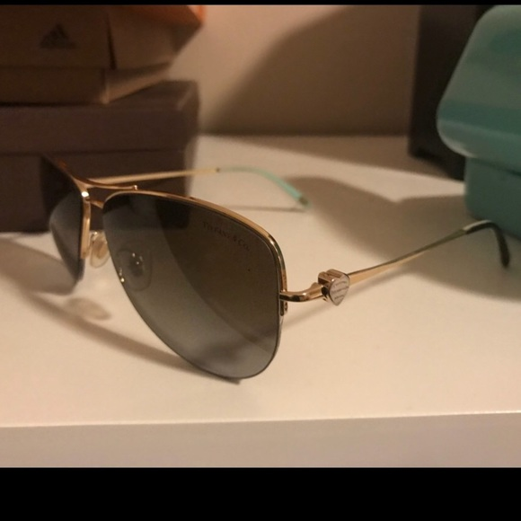 16daa2d631a Accessories - Tiffany   Co gold aviator sunglasses TF3021